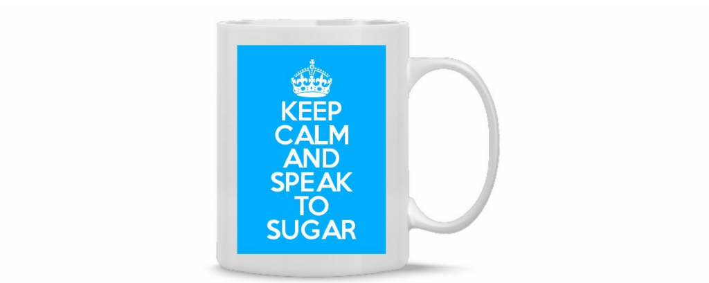 Keep calm and speak to Sugar PR branded mugs for 76 King Street in Manchester
