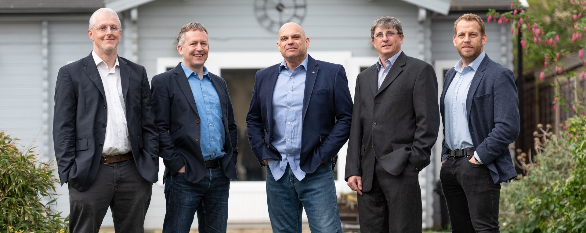 (L-R) Working with Sugar PR to announce the £1.5 seed funding round are the iKVA team of Prof Richard Mortier, CTO Dr Chris Doran, Chairman Jon Horden, CEO, Ian Firth, CPO Leon Challenger, Head of Sales 2021